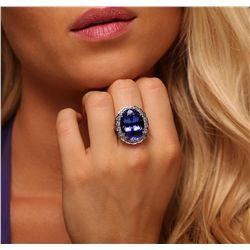 14KT White Gold 21.19ct GIA Cert Tanzanite and Diamond Ring
