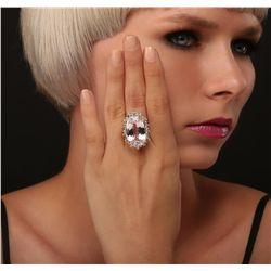 14KT Yellow Gold GIA Certified 37.12ct Kunzite and Diamond Ring
