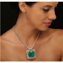 14KT White Gold GIA Certified 59.23ct Emerald and Diamond Necklace