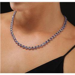 14KT White Gold 34.63ctw Tanzanite and Diamond Necklace