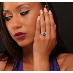 14KT White Gold 2.42ct Tanzanite and Diamond Ring