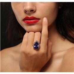14KT Rose Gold 18.98ct GIA Cert Tanzanite and Diamond Ring