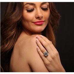 14KT White Gold 3.96ct Aquamarine and Diamond Ring