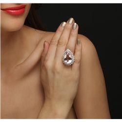 14KT Rose Gold 20.70ct Morganite and Diamond Ring