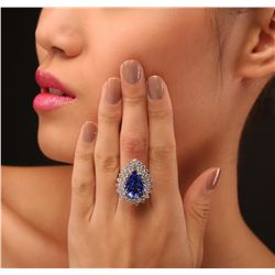 14KT White Gold GIA Certified 9.22ct Tanzanite and Diamond Ring