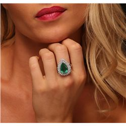 14KT White and Yellow Gold 5.54ct Emerald and Diamond Ring