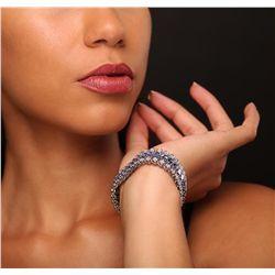 10KT White Gold 20.84ctw Tanzanite and Diamond Bracelet