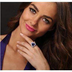 14KT White Gold 8.23ct GIA Cert Tanzanite & Diamond Ring