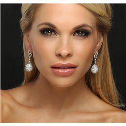 18KT White Gold 13.36ctw Diamond Earrings