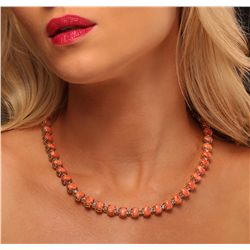 14KT Yellow Gold 40.42ctw Pink Coral and Diamond Necklace