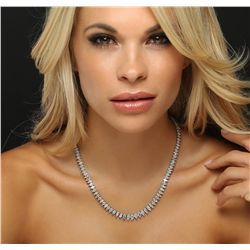 Platinum 20.76ctw Diamond Tennis Necklace