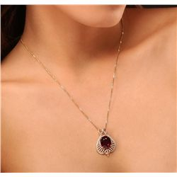 14KT Yellow Gold 10.19ct Ruby and Diamond Pendant With Chain