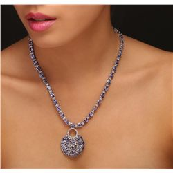 14KT White Gold 44.28ctw Tanzanite and Diamond Necklace