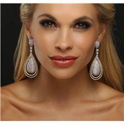 18KT Three-Tone Gold 17.95ctw Diamond Earrings