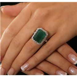 14KT White Gold 9.45ct Emerald and Diamond Ring