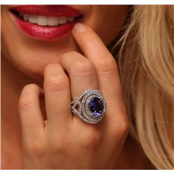 14KT White Gold 4.67ct Tanzanite and Diamond Ring