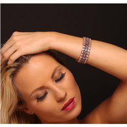 14KT Rose Gold 21.70ctw Tanzanite and Diamond Bracelet