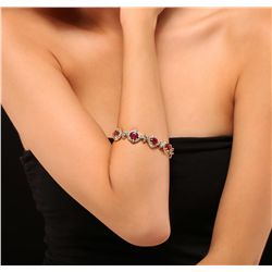 14KT Yellow Gold 19.80ctw Ruby and Diamond Bracelet