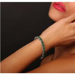 14KT White Gold 19.20ctw Emerald Bracelet