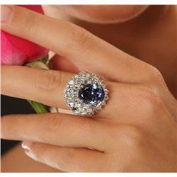 14KT White Gold 6.74ct Tanzanite and Diamond Ring
