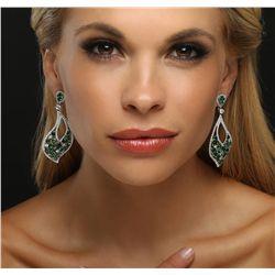 18KT White Gold 10.54ctw Tsavorite and Diamond Earrings