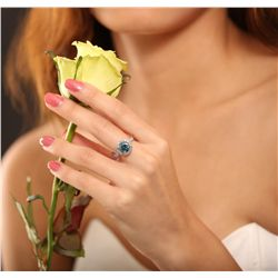 14KT Gold 2.34ct I-2 / Very Greenish Blue & White Diamond Ring