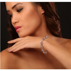 14KT White Gold 5.94ctw Tanzanite and Diamond Bracelet