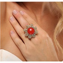 14KT Yellow Gold 9.36ct Coral and Diamond Ring