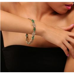 14KT Yellow Gold 17.50ctw Emerald and Diamond Bracelet