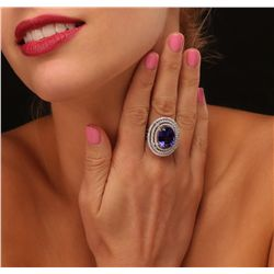 14KT White Gold GIA Certified 12.54ct Tanzanite and Diamond Ring