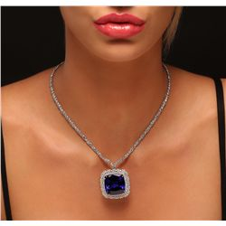 18KT White Gold 68.80ct GIA Certified Tanzanite and Diamond Pendant With Chain