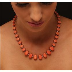 14KT Rose Gold 77.50ctw Coral and Diamond Necklace