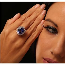 14KT White Gold 11.08ct GIA Certified Tanzanite and Diamond Ring