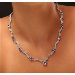 14KT White Gold 11.76ctw Tanzanite and Diamond Necklace