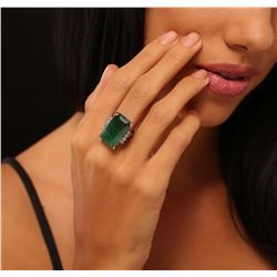 14KT White Gold 17.30ct Emerald and Diamond Ring