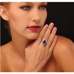 14KT White Gold 6.70ct Tanzanite and Diamond Ring