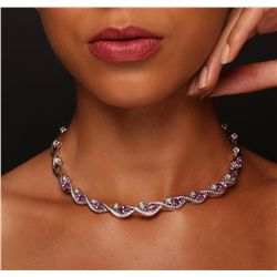 18KT White Gold 8.50ctw Sapphire and Diamond Necklace
