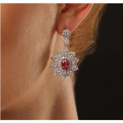14KT White Gold 4.32ctw Ruby and Diamond Earrings