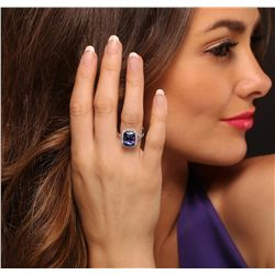 14KT White Gold 6.31ct Tanzanite and Diamond Ring