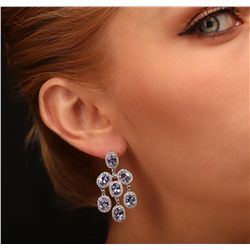 14KT White Gold 10.78ctw Tanzanite and Diamond Earrings