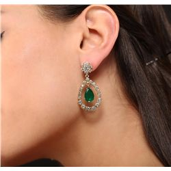 14KT Yellow Gold 5.91ct Emerald and Diamond Earrings