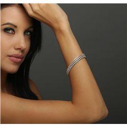 14KT Three-Tone Gold 6.54ctw Diamond Bracelet