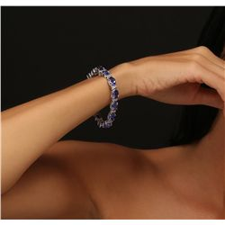14KT White Gold 27.12ctw Tanzanite and Diamond Bracelet