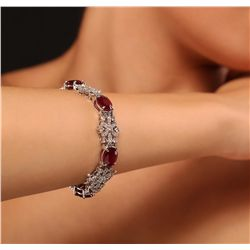 14KT White Gold 28.56ctw Ruby and Diamond Bracelet