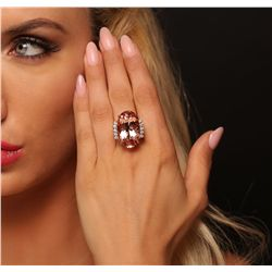 14KT Rose Gold 23.97ct GIA Certified Morganite and Diamond Ring