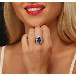 14KT White Gold 6.62ct Tanzanite and Diamond Ring