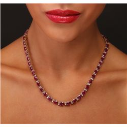 14KT Yellow Gold 46.06ctw Ruby and Diamond Necklace