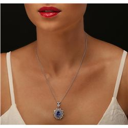 14KT White Gold 3.40ct Tanzanite and Diamond Pendant With Chain