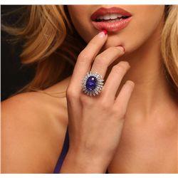 14KT White Gold 16.78ct Tanzanite and Diamond Ring