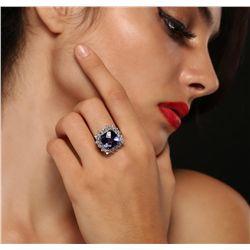 14KT White Gold 10.84ct Tanzanite and Diamond Ring